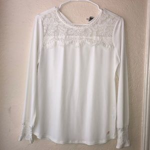 Anne Klein off white long sleeve blouse